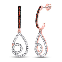 10kt Rose Gold Womens Round Red Color Enhanced Diamond Teardrop Dangle Earrings 1/4 Cttw