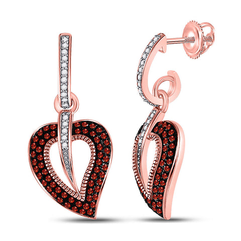 10kt Rose Gold Womens Round Red Color Enhanced Diamond Heart Dangle Earrings 3/8 Cttw