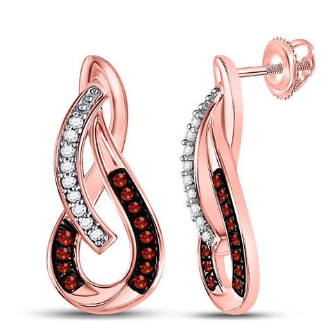 10kt Rose Gold Womens Round Red Color Enhanced Diamond Fashion Earrings 1/10 Cttw