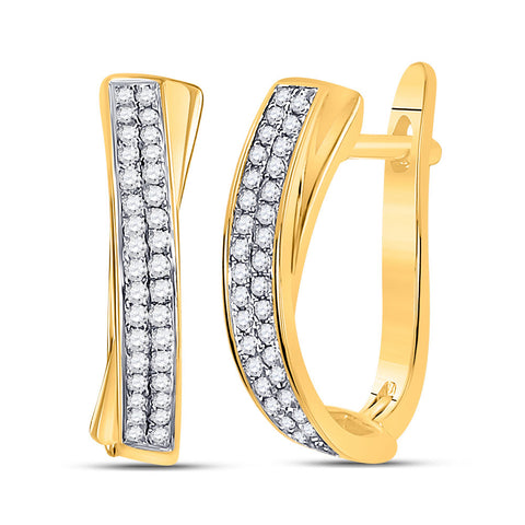 10kt Yellow Gold Womens Round Pave-set Diamond Hoop Earrings 1/6 Cttw
