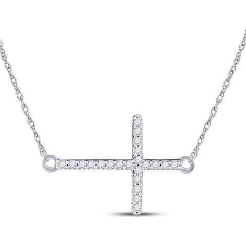 10kt White Gold Womens Round Diamond Horizontal Cross Necklace 1/20 Cttw