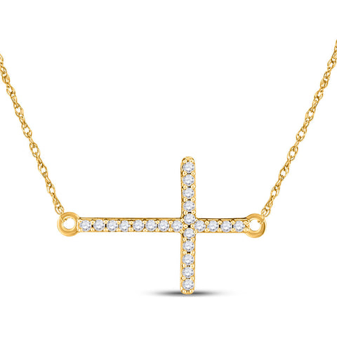 10kt Yellow Gold Womens Round Diamond Horizontal Cross Necklace 1/20 Cttw