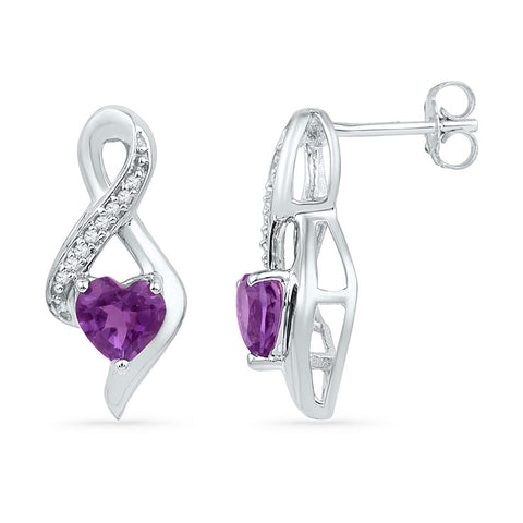 10kt White Gold Womens Heart Amethyst Diamond Fashion Earrings 1/20 Cttw