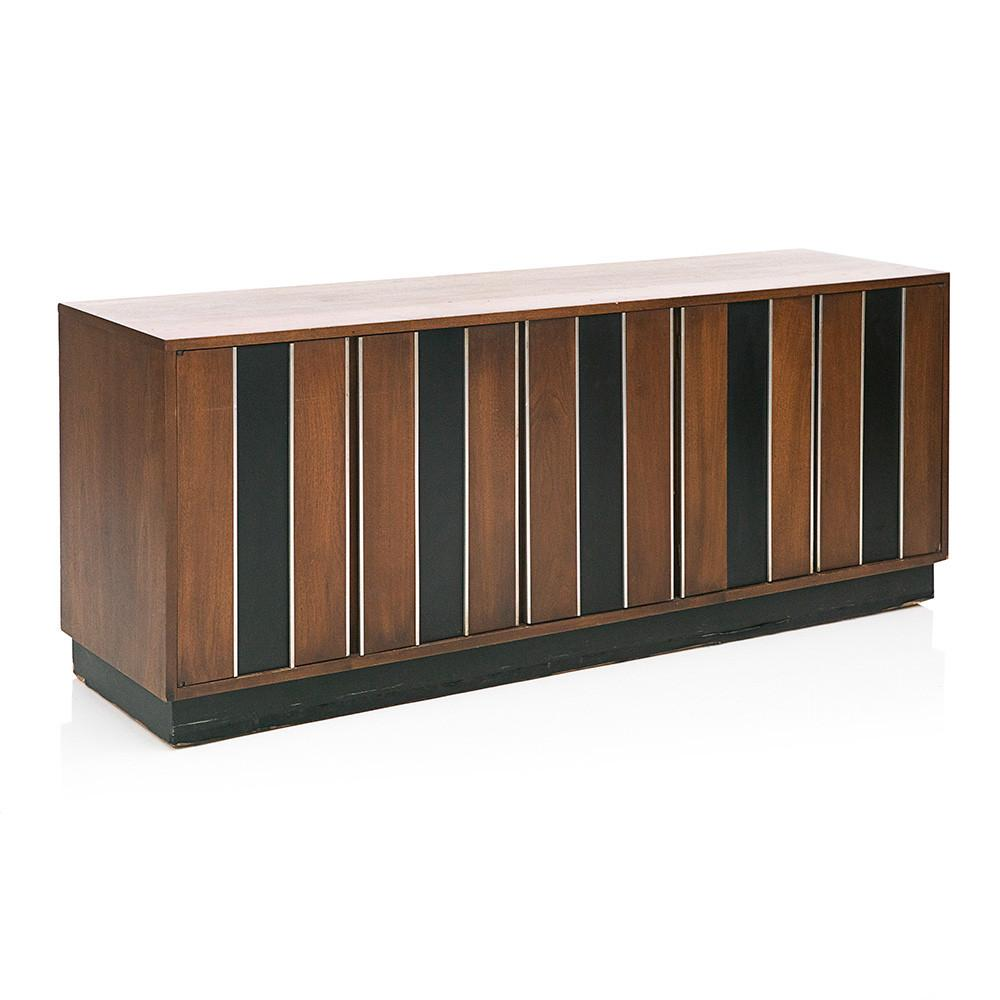 Black and Brown Wood Credenza