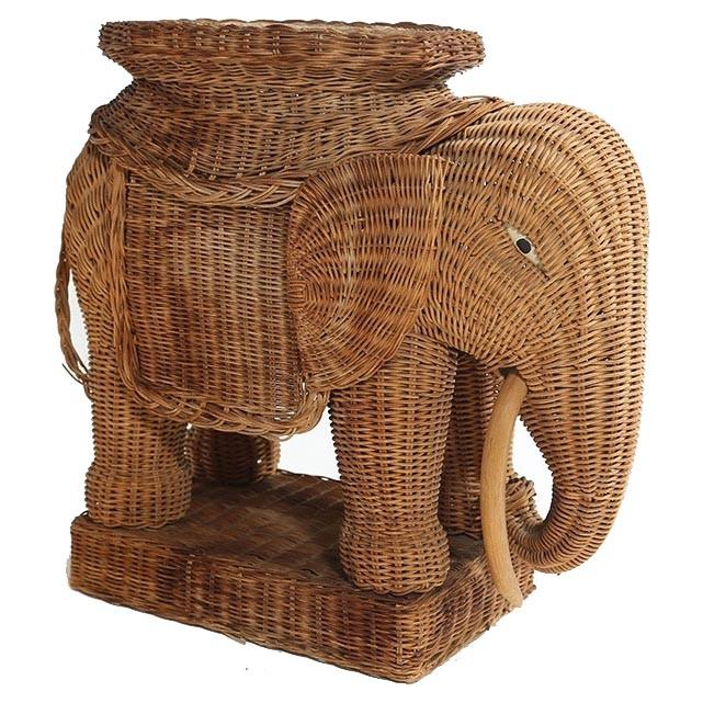 Wicker Elephant Side Table