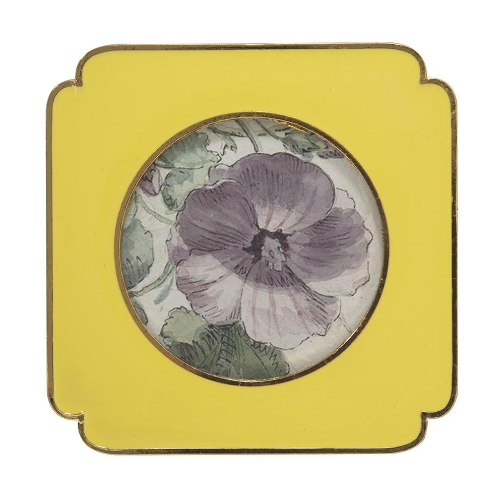 "BFA  100-906 Floral Yellow Small (4"" x 4"")"
