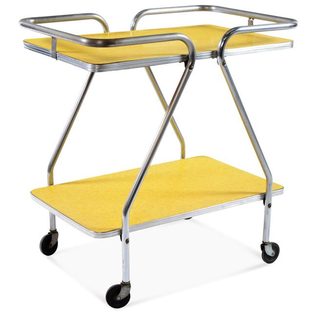 Yellow and Silver Metal Serving Cart