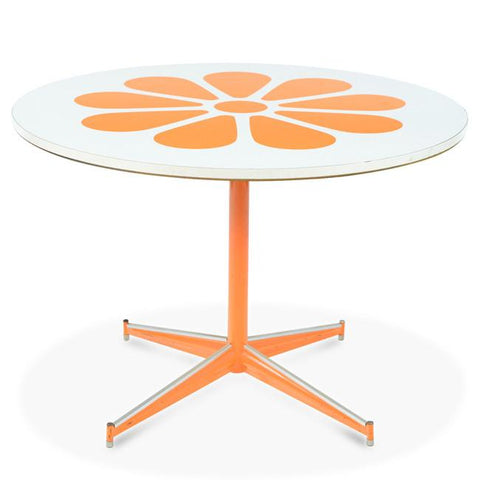 Round Dining Table - Orange Flower