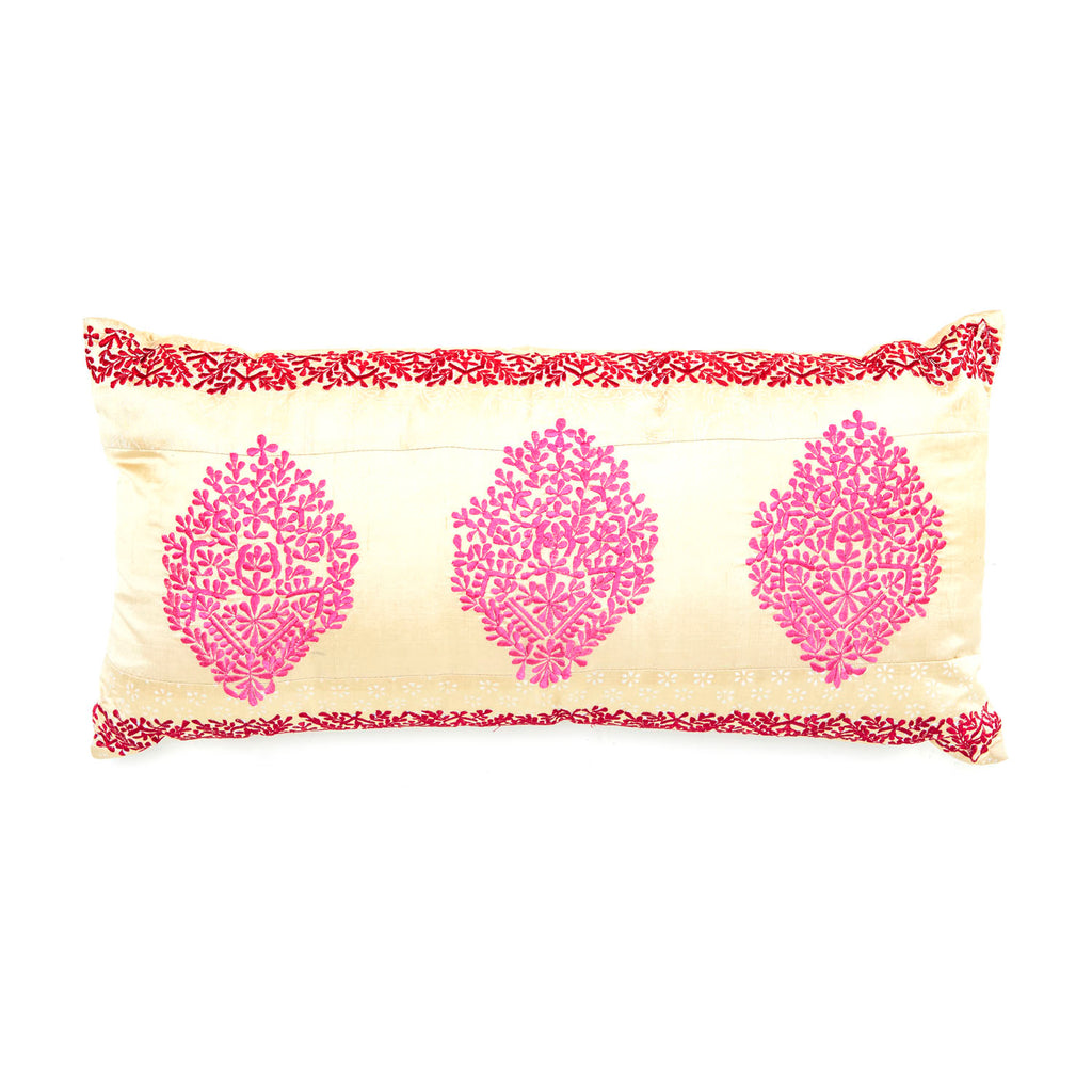 Pink and Yellow Sari Medallion Lumbar Pillow