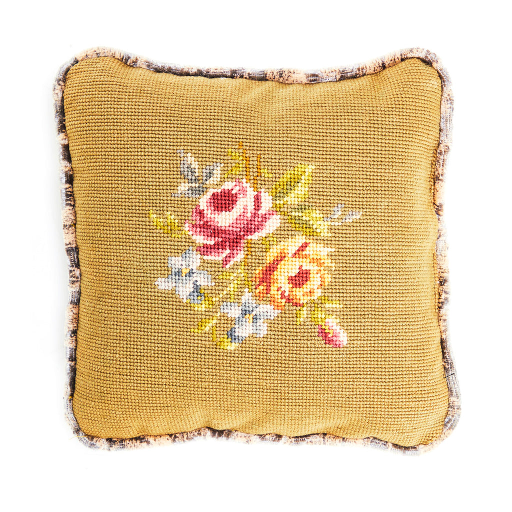 Vintage Green Cross Stitch Pillow