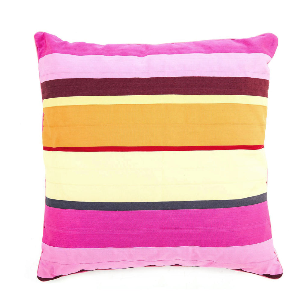 Multicolor Pink Striped Pillow
