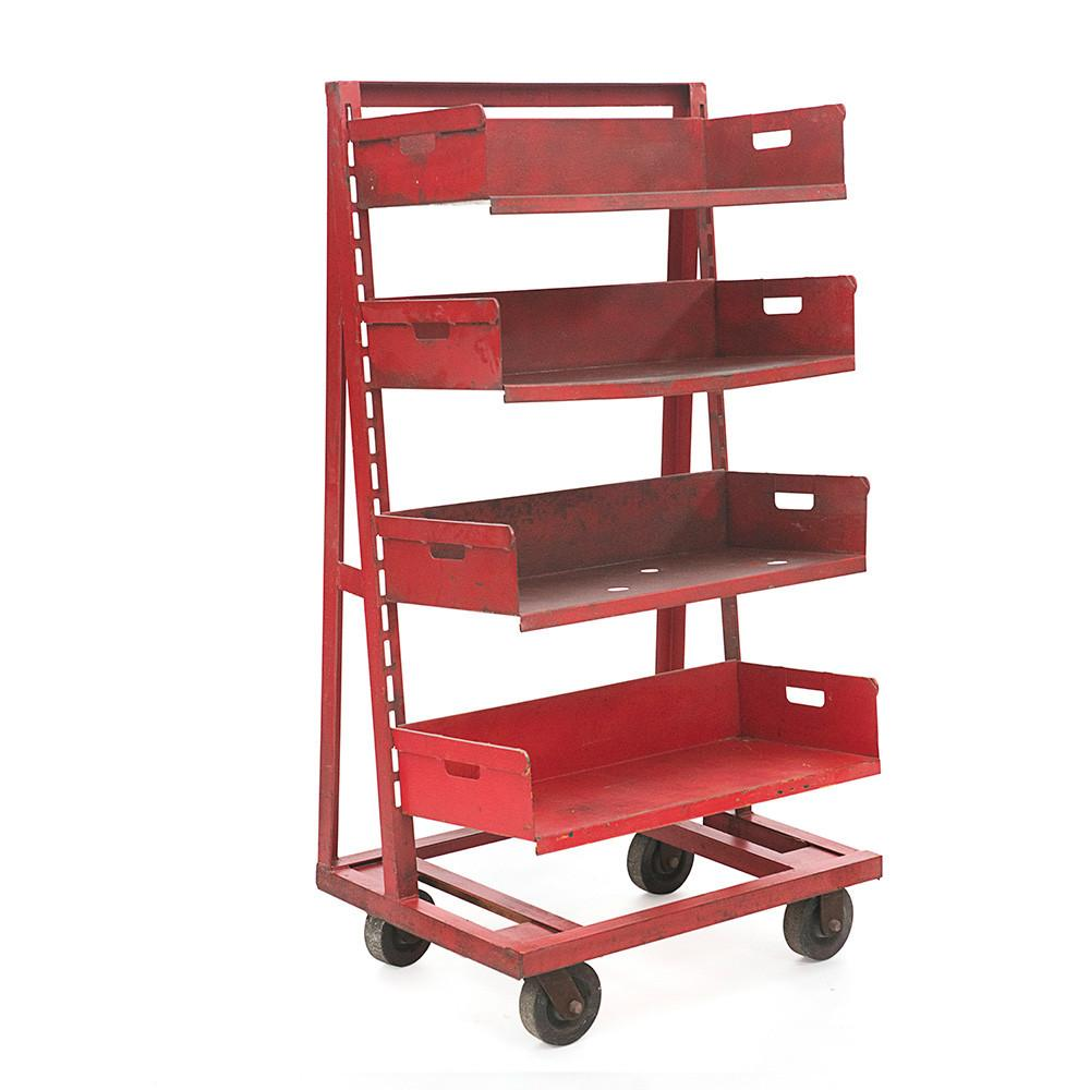 Red Industrial Rolling Tool Cart