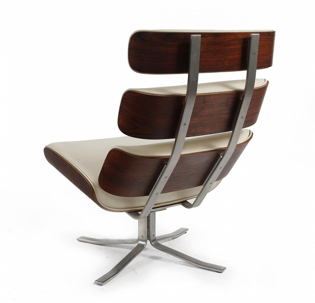 Hybrid Rosewood Leather Lounge Chair