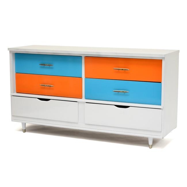 Blue & Orange Six-Drawer Dresser