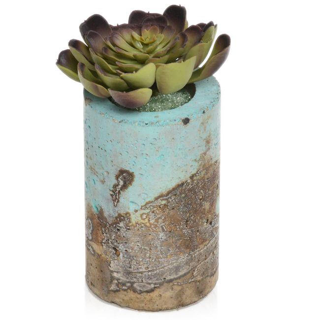 Blue Aqua BFA Ceramic Textured Vase Green