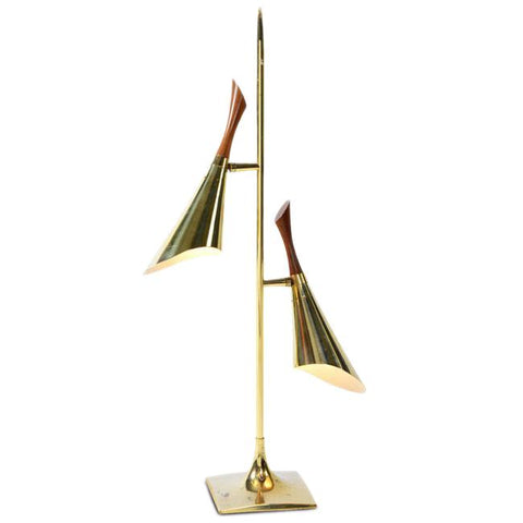 2 Brass & Wood Cone Table Lamp