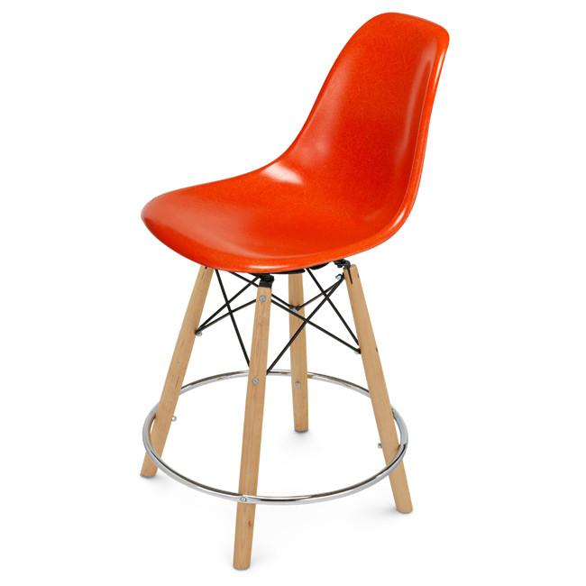 Shell Chair Dowel Counter Stool Swivel Base