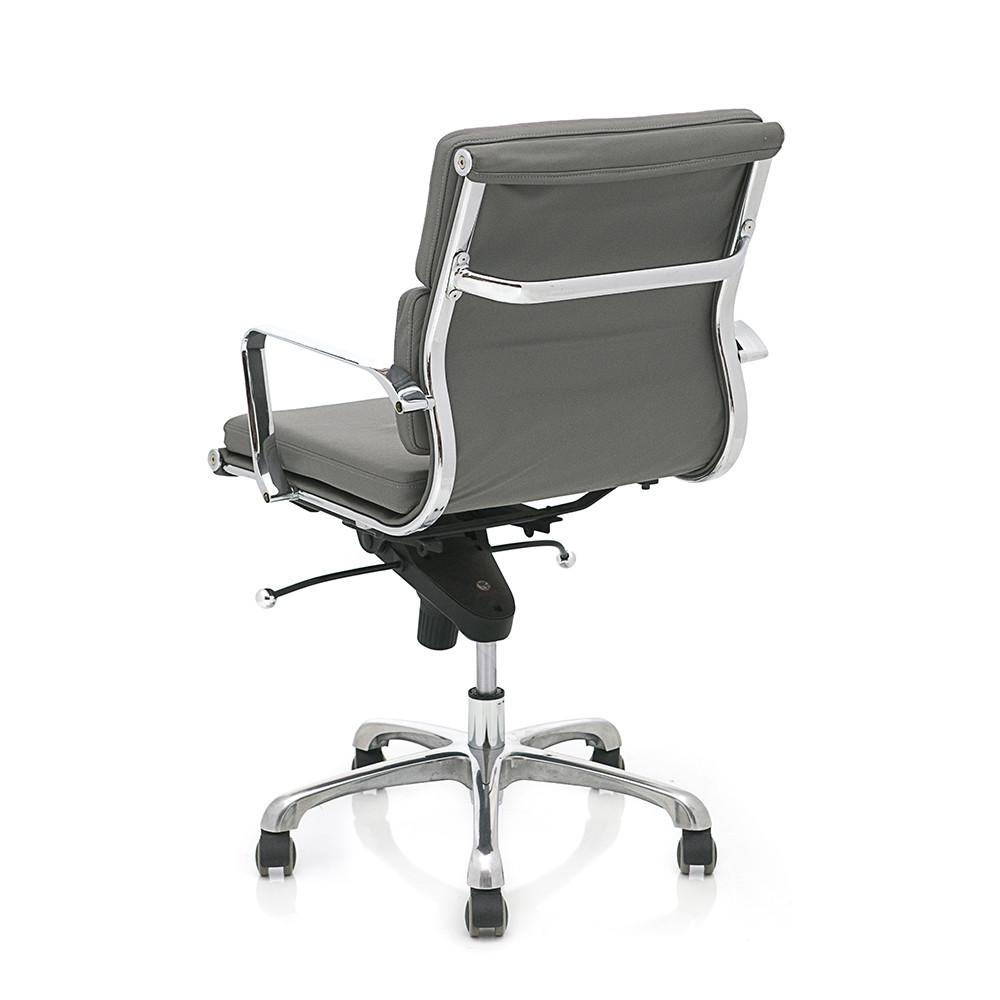 2 Pad Leather Office Chair - Grey