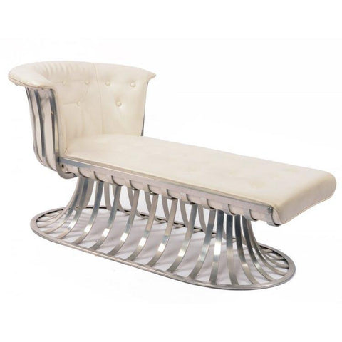 Aluminum Chaise w White Cushion