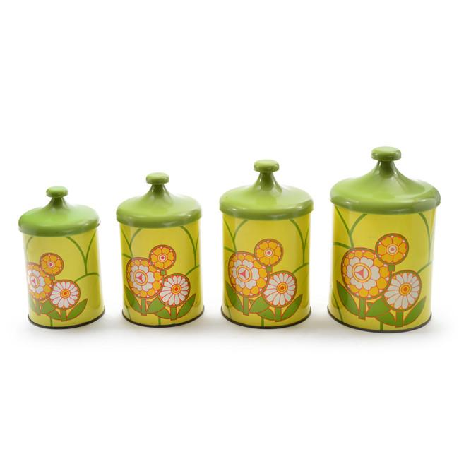 Canisters - Green Flower Set