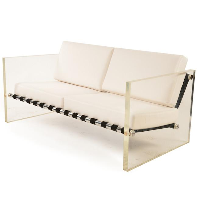 Mid-Century White Leather Lucite Love Seat