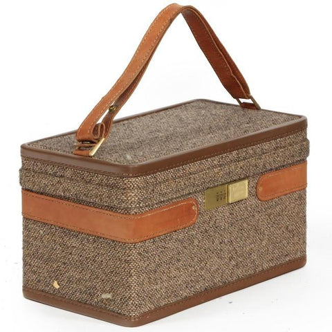 Brown Tweed Small Makeup Suitcase