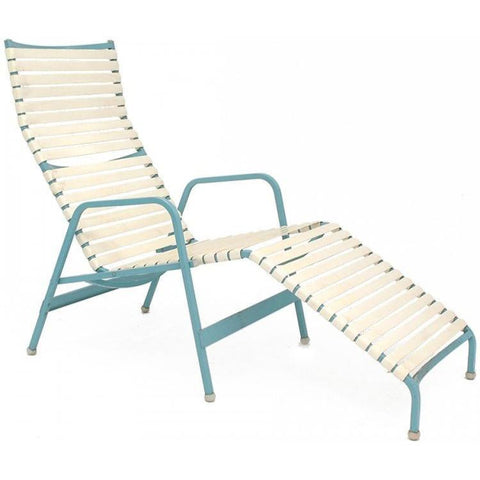 Aqua + White Strap Chaise Lounge
