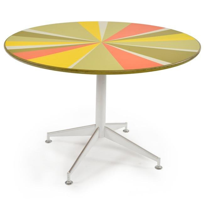 Round Dining Table - Multi Color Slices