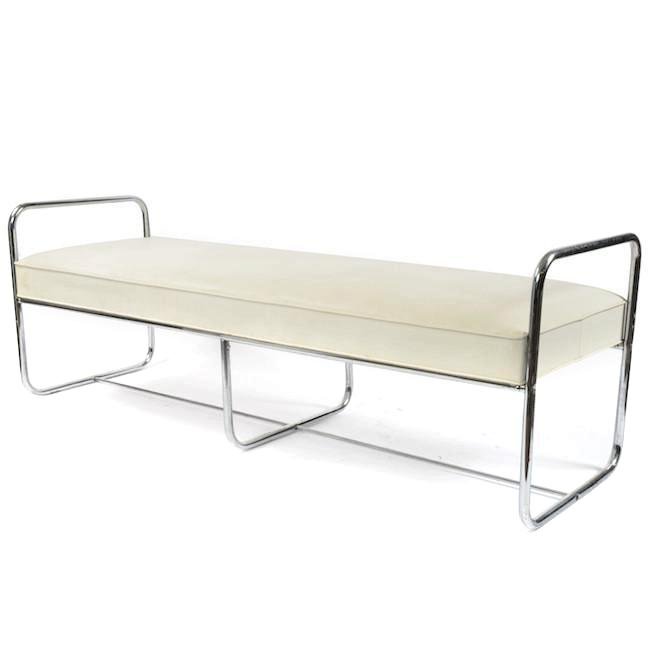 White Bench with Chrome Square Arms