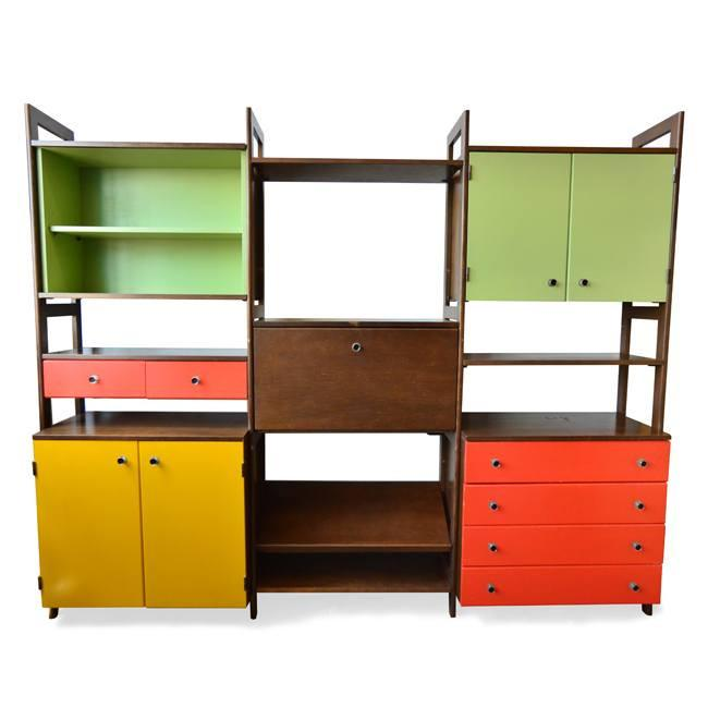 Multi-Colored Wood Shelving Unit