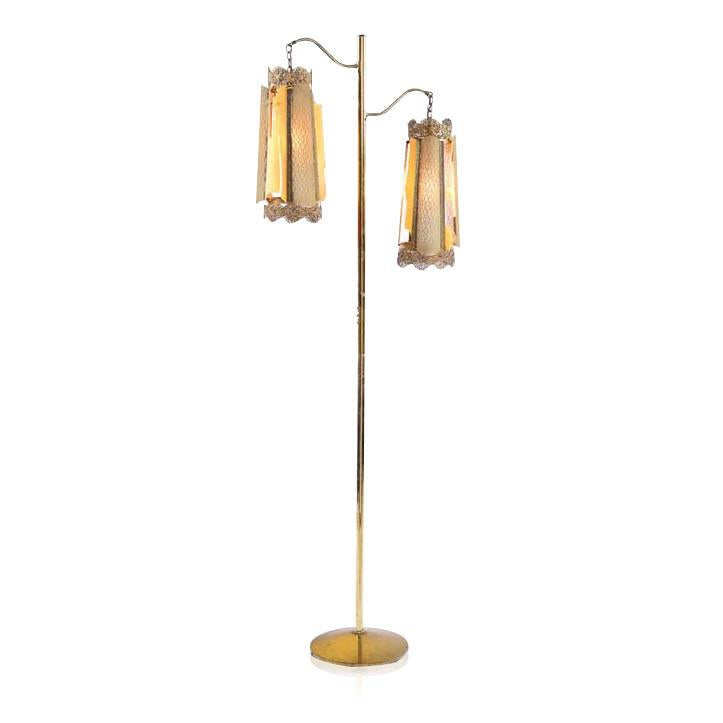 Brass Double Hanging Floor Lamp