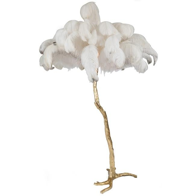 Gold Palm Tree Ostrich Feather Floor Lamp