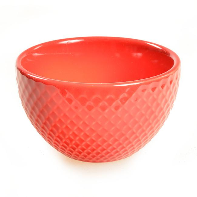 Red BFA Ceramic Bowl Textured Dip