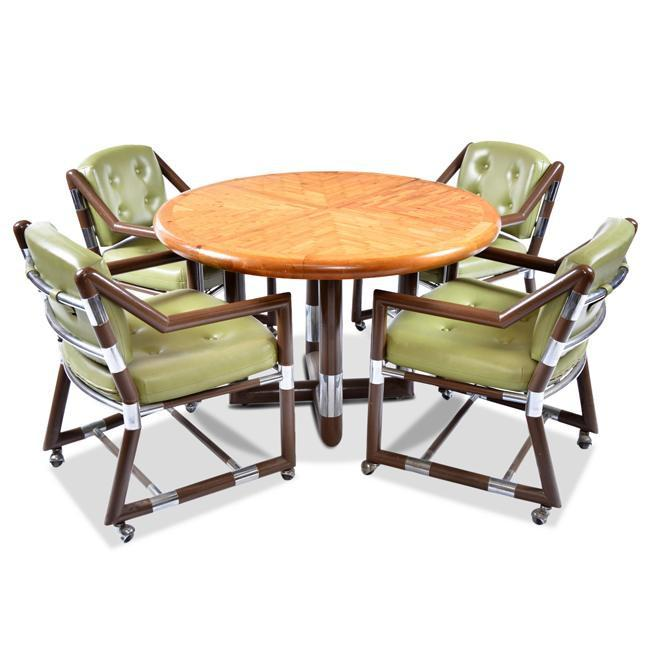 Round Thick Wood Dining Table with Crossed Legs