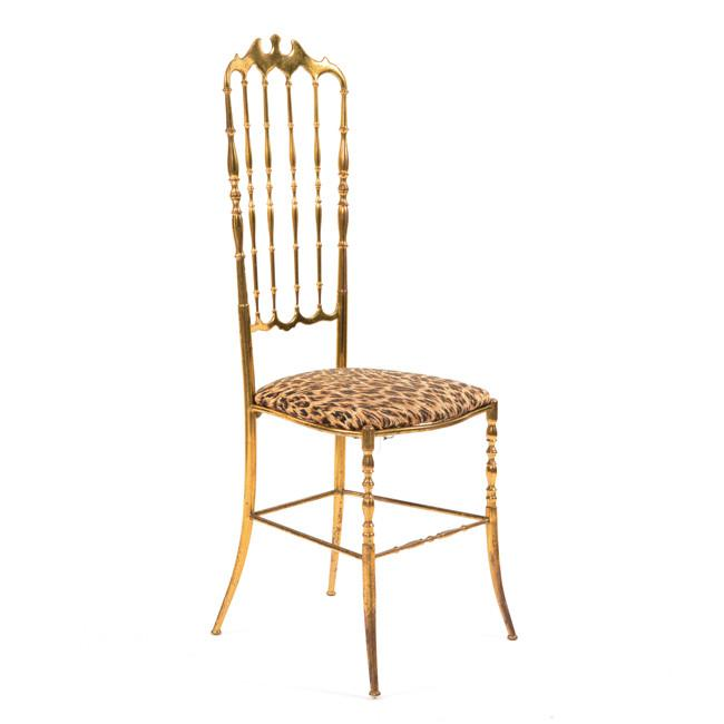Gold High Back Chair with Animal Cushion Print