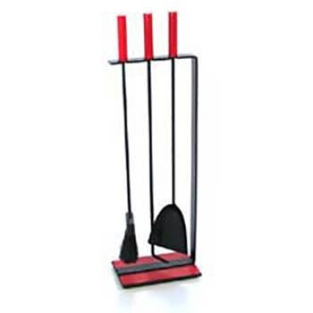 Red Handle Fireplace Tools Set