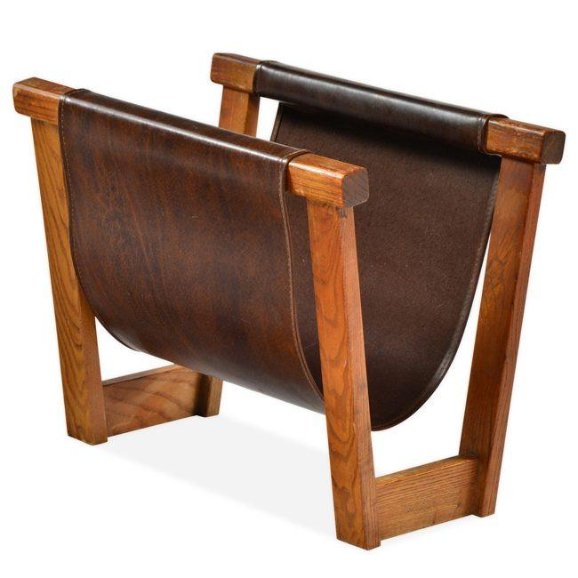 Brown Leather Sling Magazine Rack