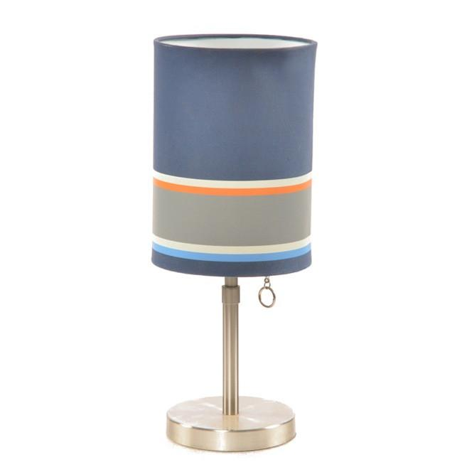 Chrome Table Lamp with Blue Striped Shade