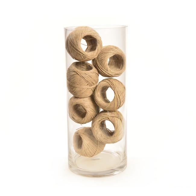 Tan Glass BFA Cylinder with Balls of Twine