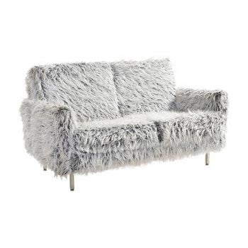 Fuzzy Grey Love Seat