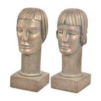Pair of Deco Silver Busts
