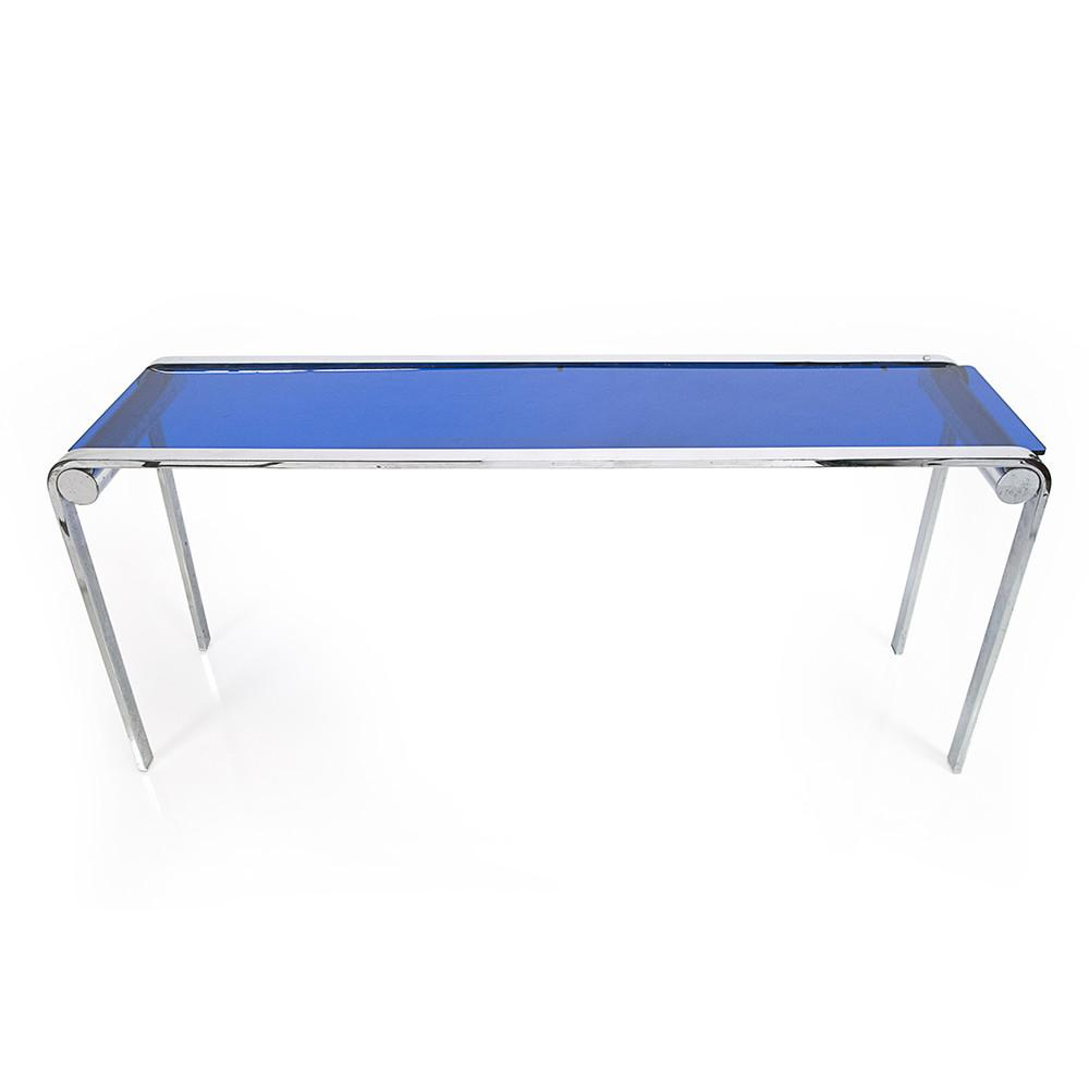 Blue Glass and Chrome Console Table