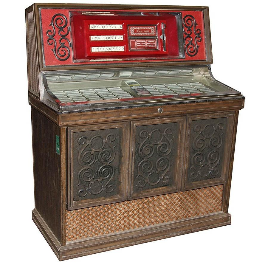 Antique Wood and Red Rowe AMI Jukebox