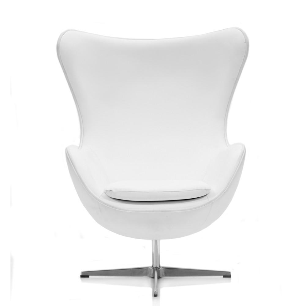 Egg Chair - White Leather