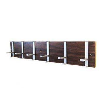 Wooden Coat Rack with Chrome Hooks