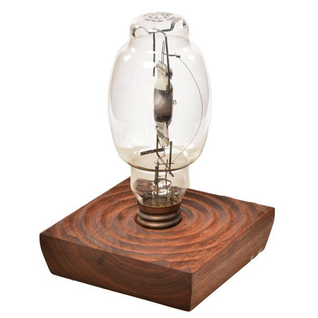 Bulb in Dark Wood Table Light - Small