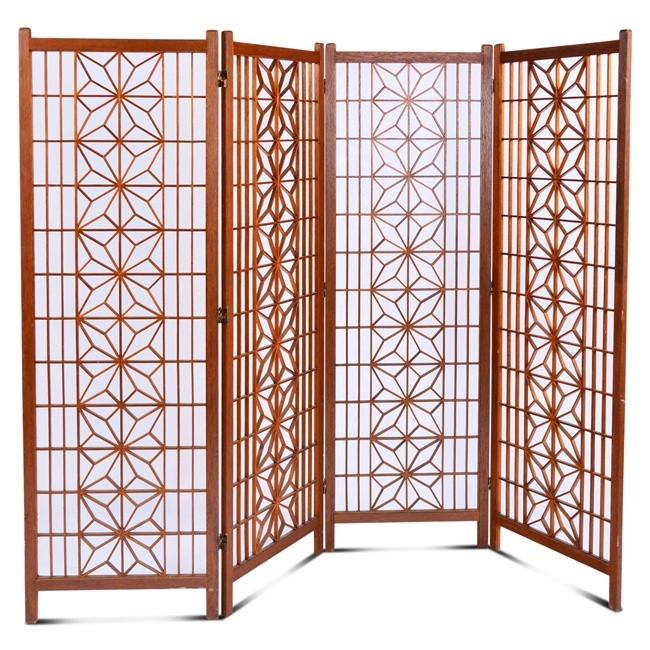 Wood Four - Panel Flower Screen