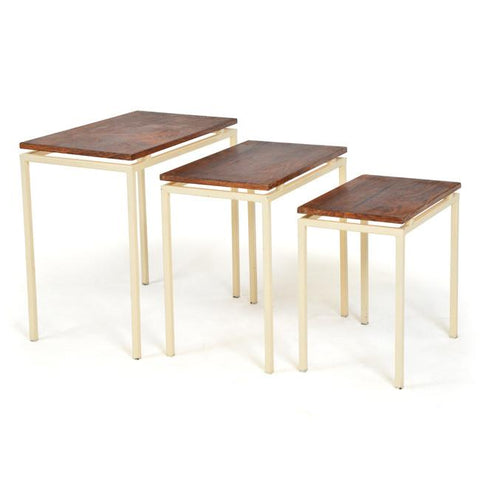 Cream and Wood Nesting Tables
