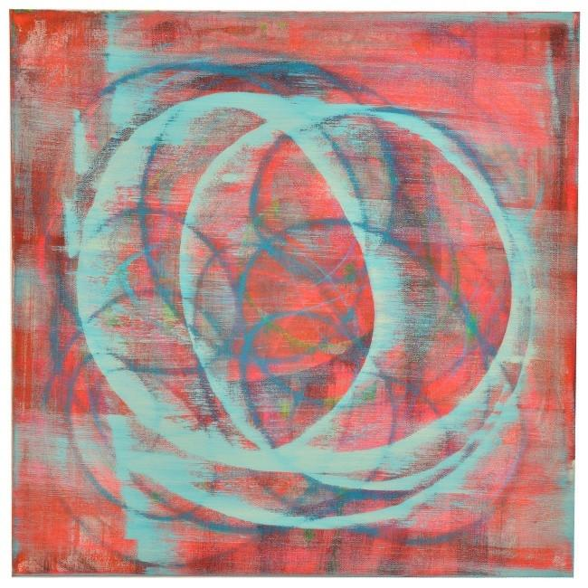 "100-689 Turquoise Circles on Red (24"" x 24"")"