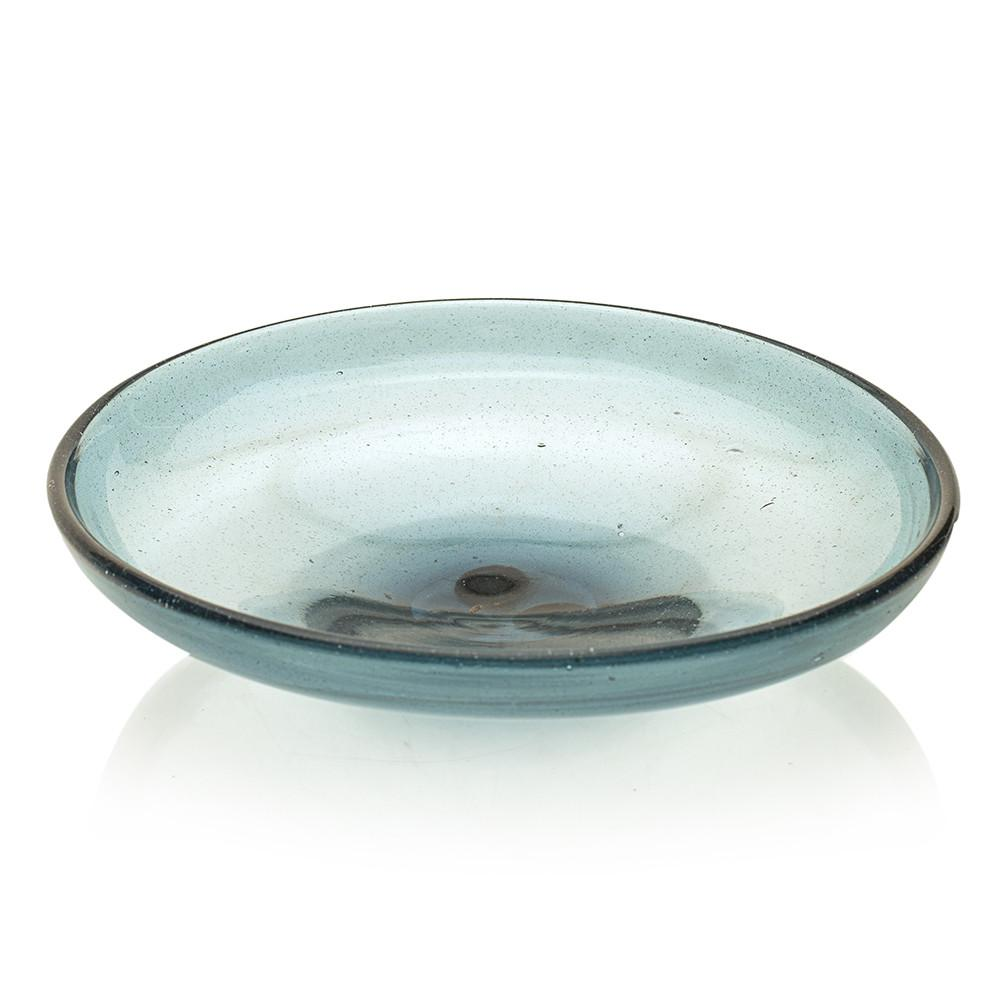 Circular Blue Glass Ashtray